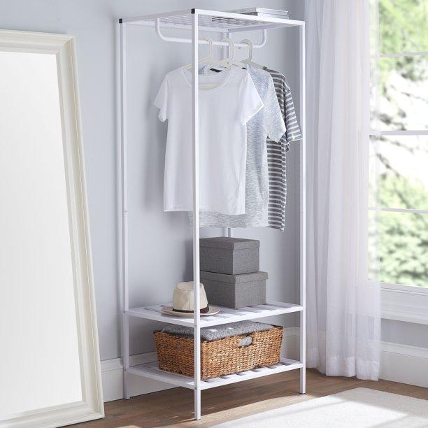 Mainstays Modern Farmhouse Slim Garment Rack White 26.77x20x67.71inH $78.39