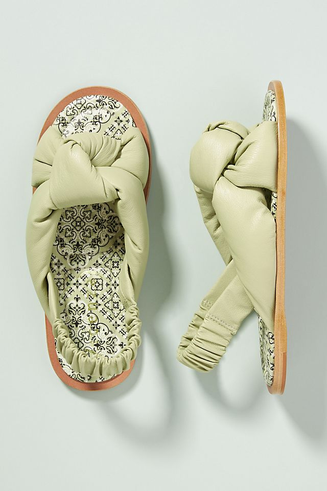 Puffy Knotted Slingback Sandals $49.95