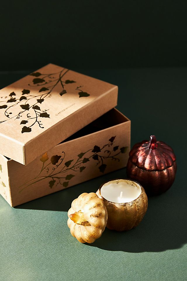 Petite Pumpkin Candles, Set of 2 $26.00