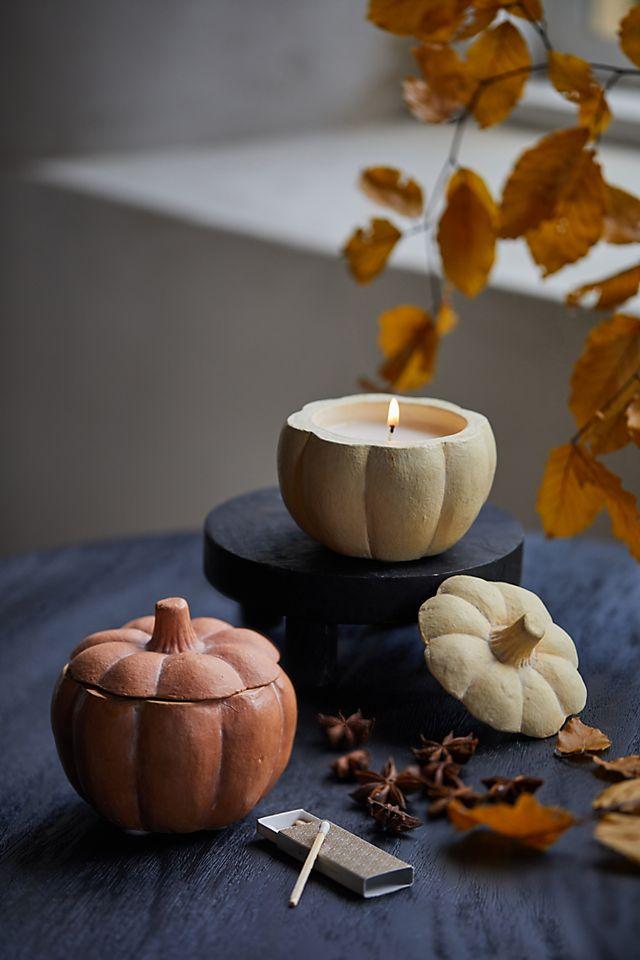 Rosy Rings Ceramic Candle, Pumpkin $34.00