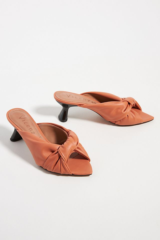 Puffy Knotted Heeled Slide Sandals $160.00