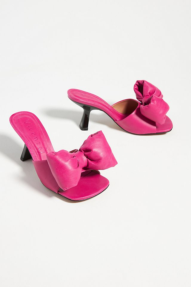 Puffy Bow Heeled Slide Sandals $150.00