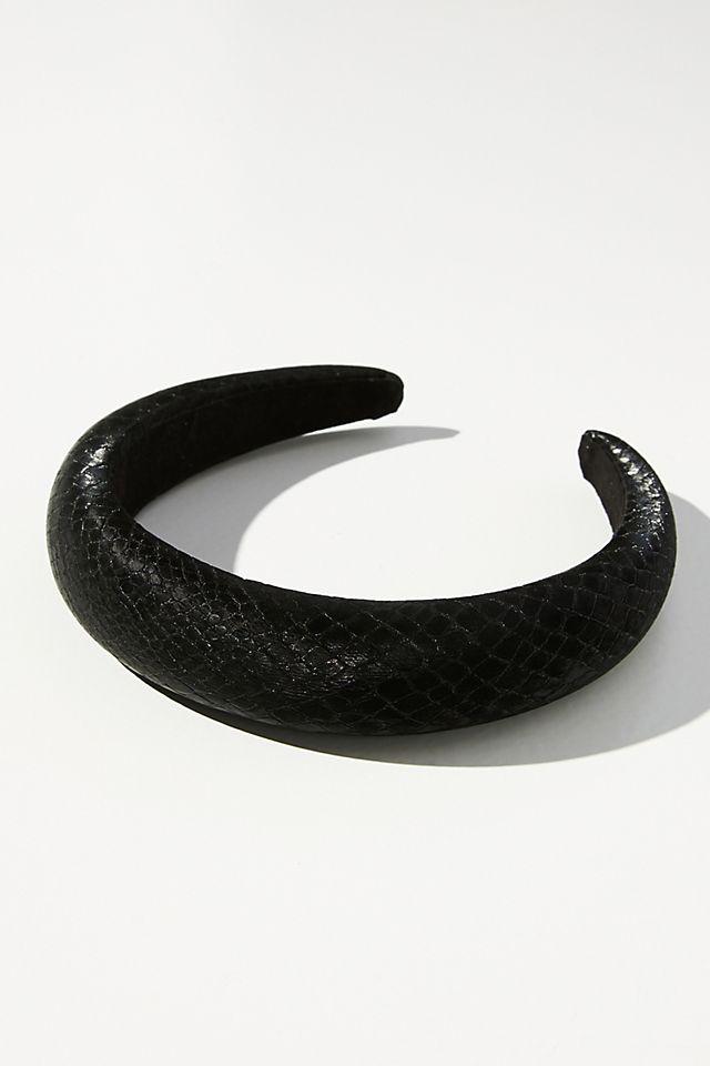 Faux Leather Puffy Headband $24.00