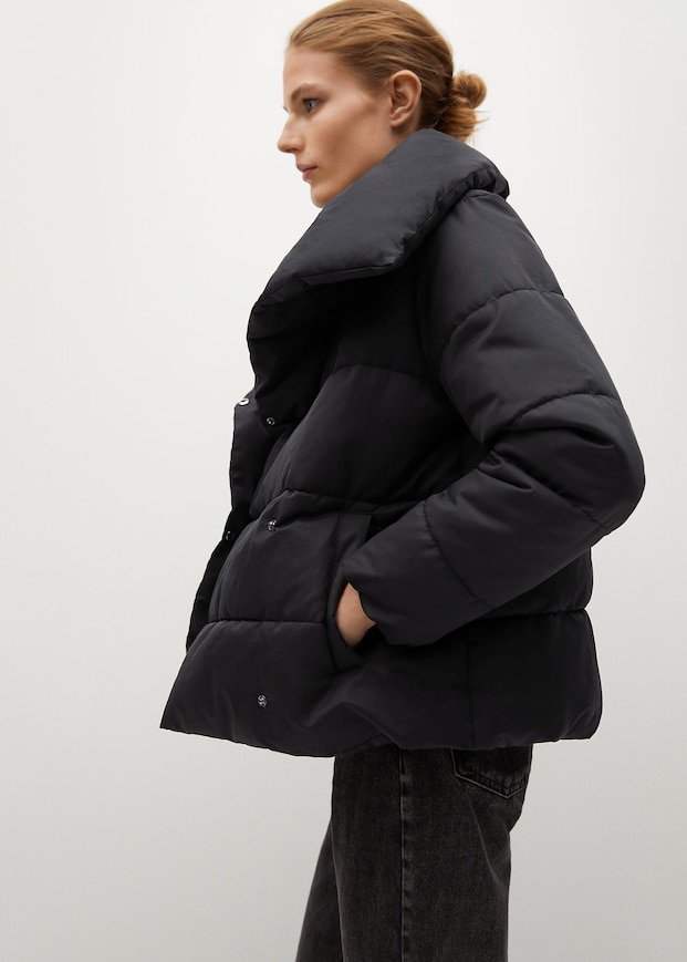 Funnel neck feather coat $129.99