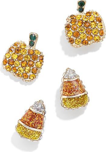Set of 2 Pumpkin & Candy Corn Stud Earrings $42.00