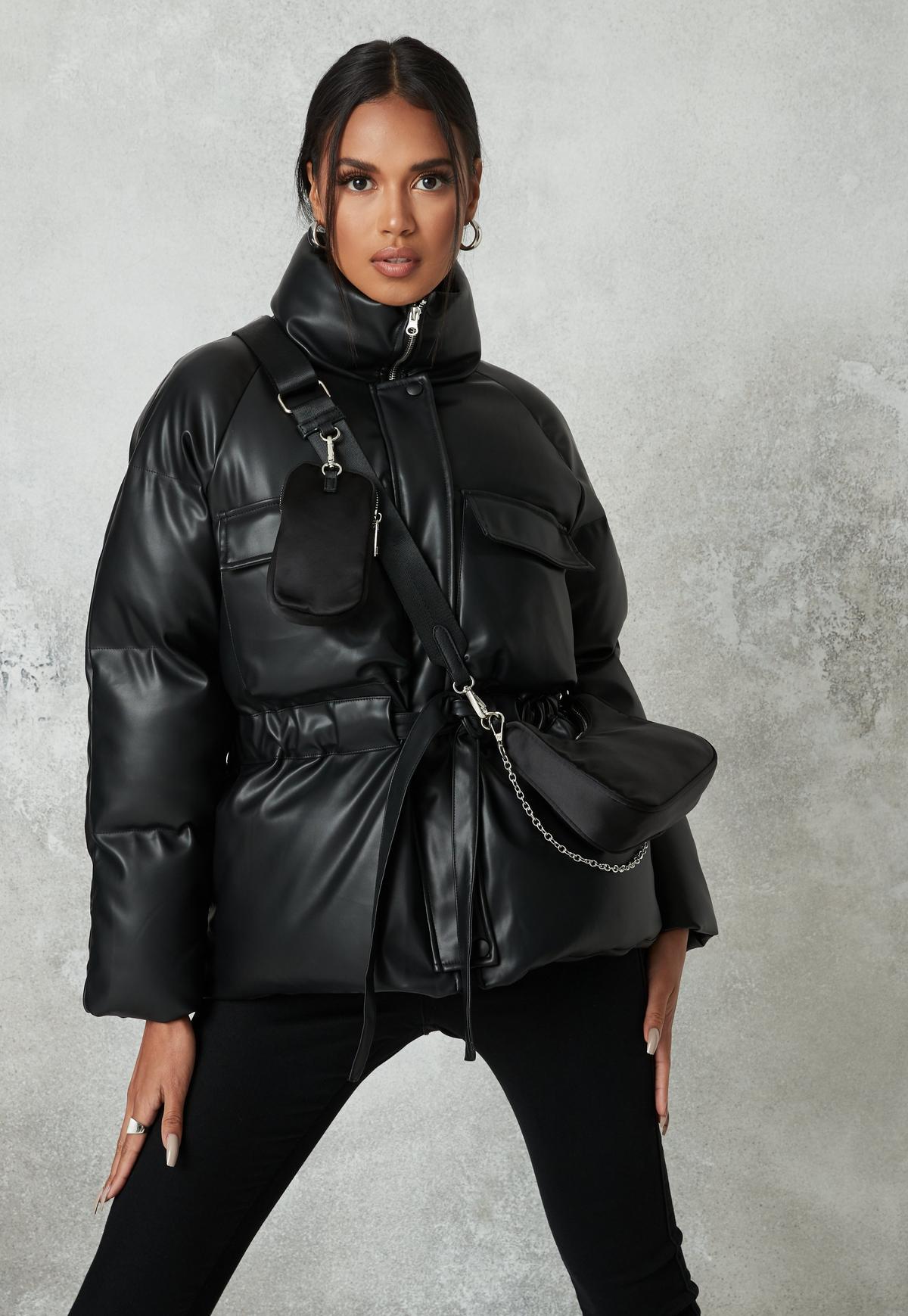 black faux leather gathered waist puffer jacket $65.00