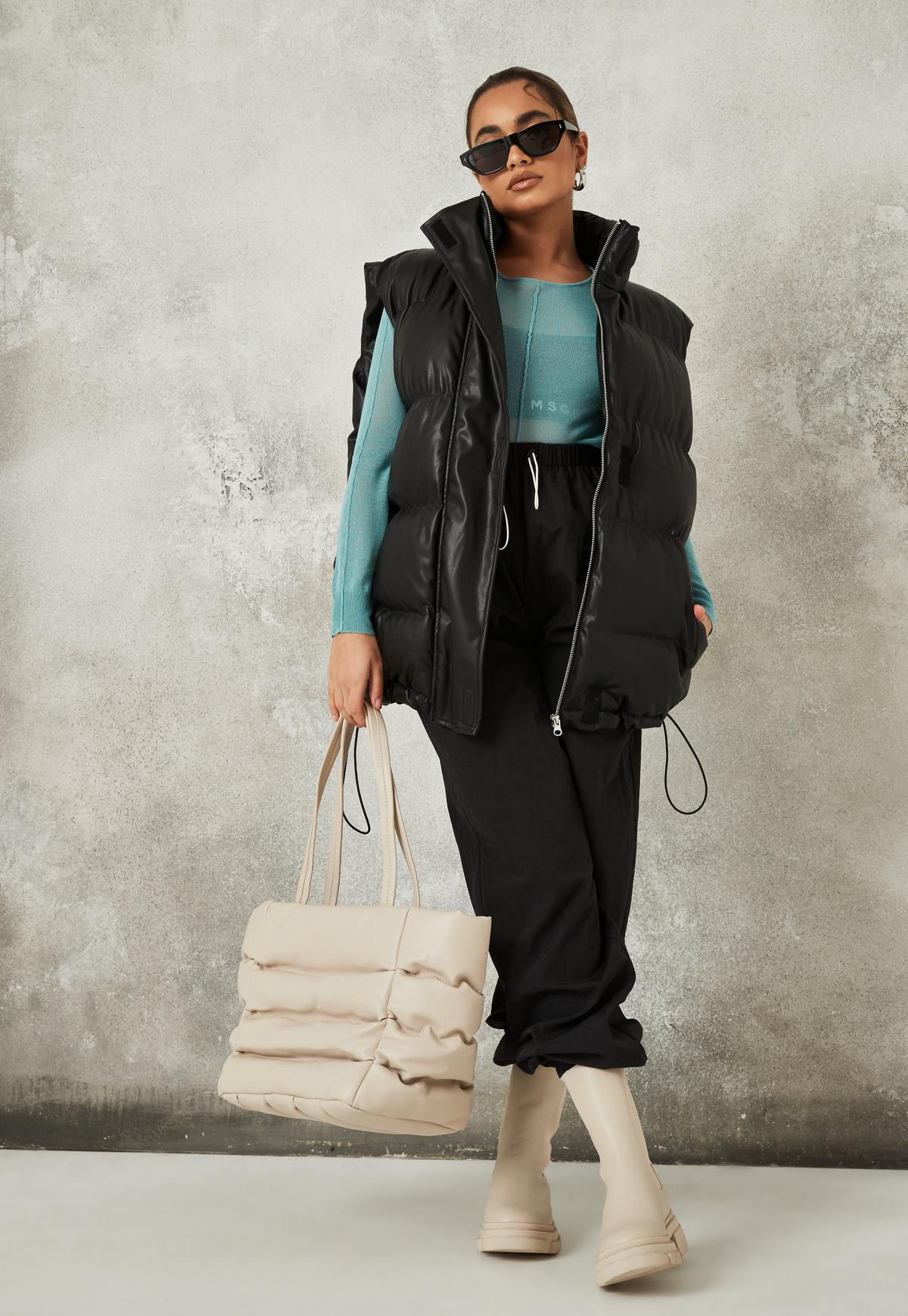 black faux leather padded vest $65.00