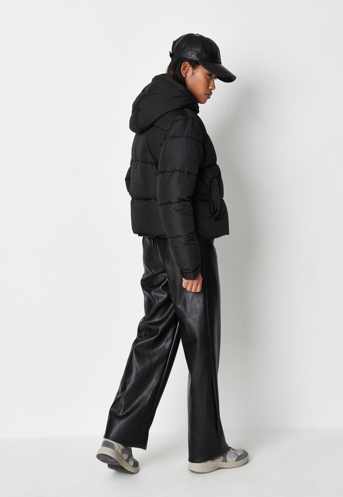 black padded hooded puffer jacket $58.00
