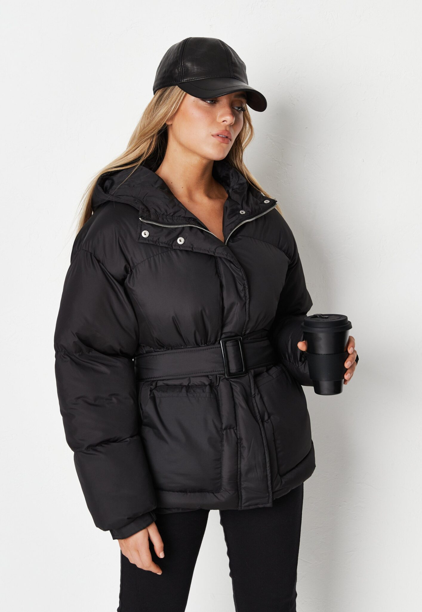 black belted hood puffer coat $74.00