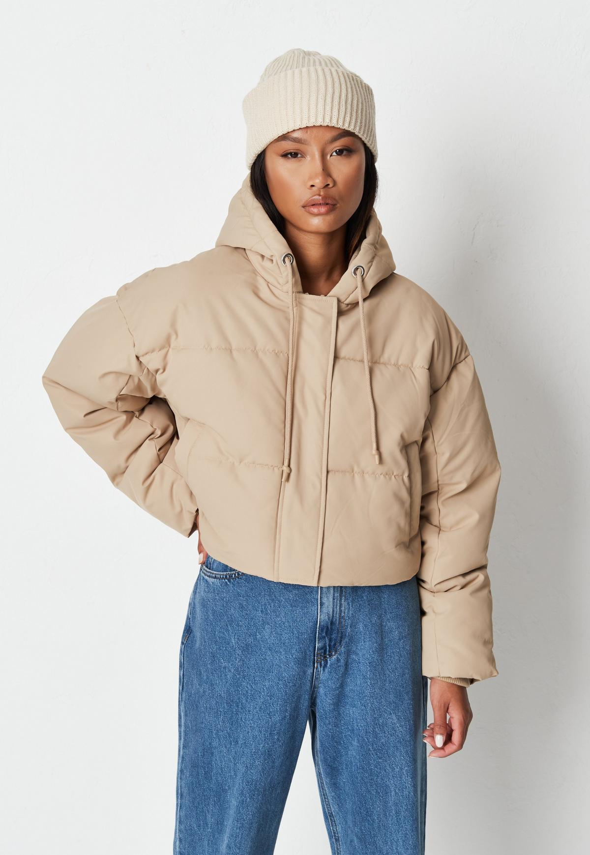 stone cropped hooded puffer jacket $74.00
