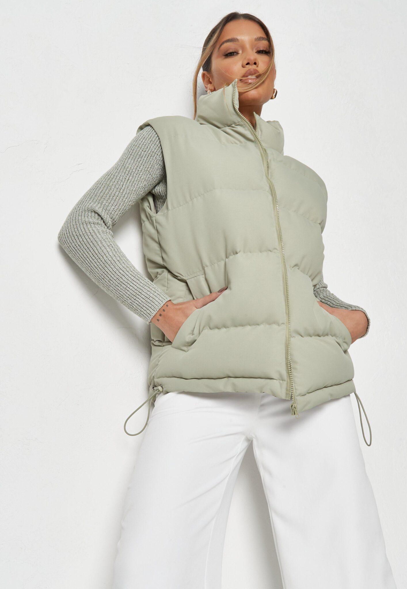 sage boxy padded vest $62.00