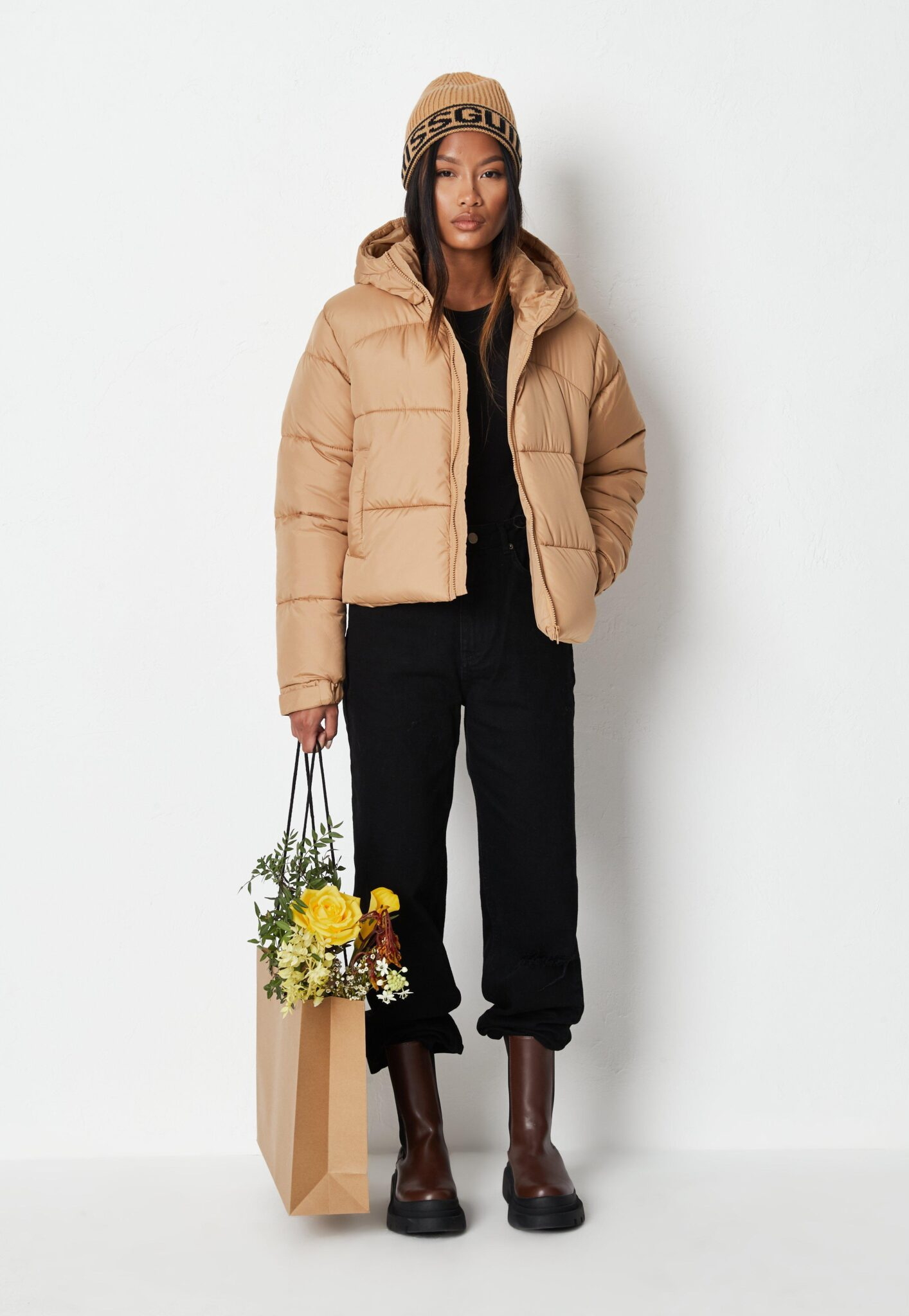 stone padded hooded puffer jacket $58.00