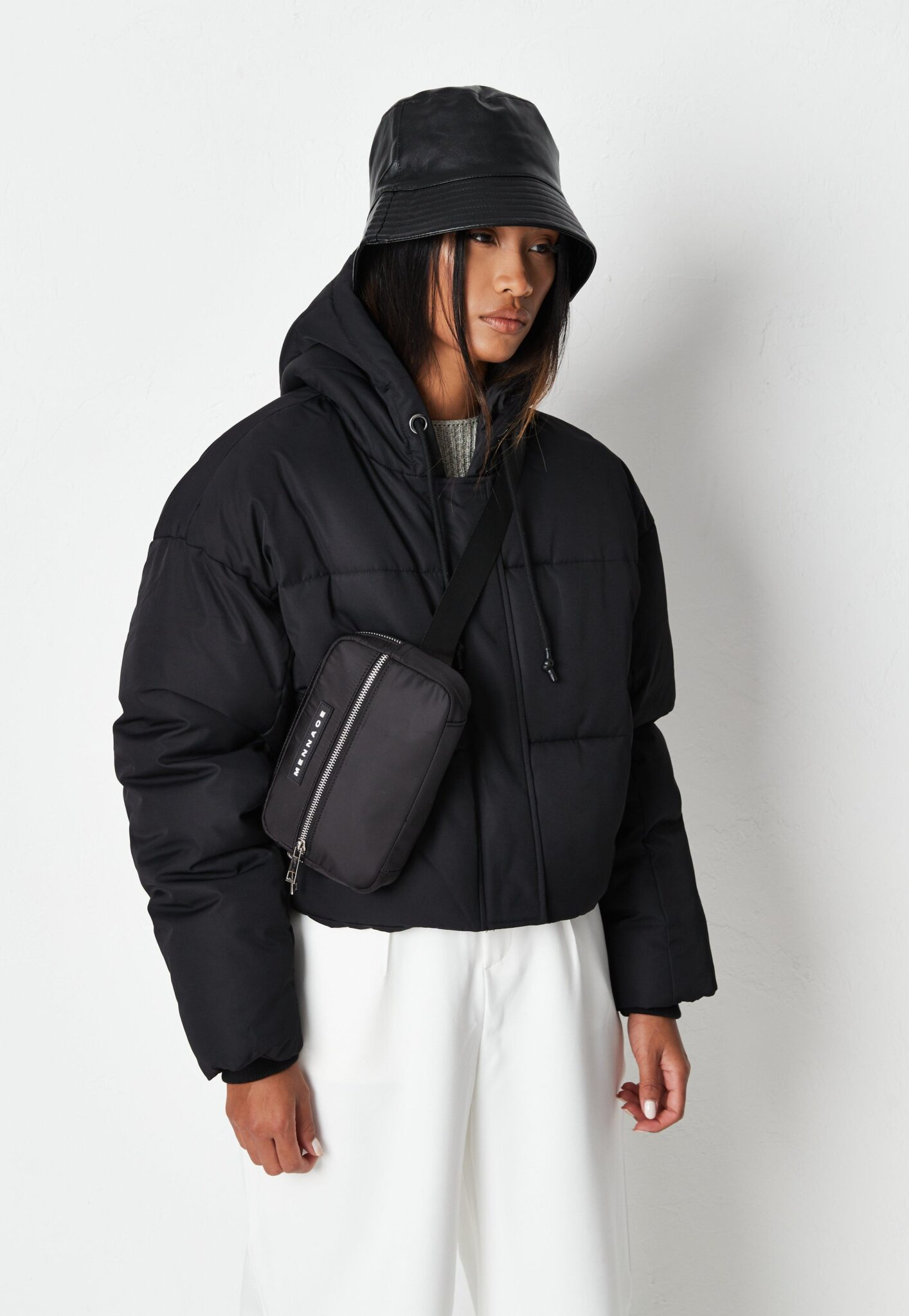 black cropped hooded puffer jacket $74.00