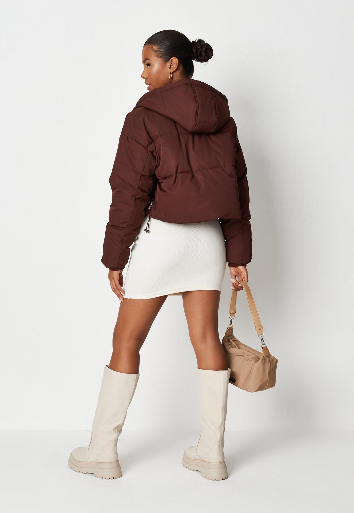 chocolate stepped hem puffer jacket $74.00