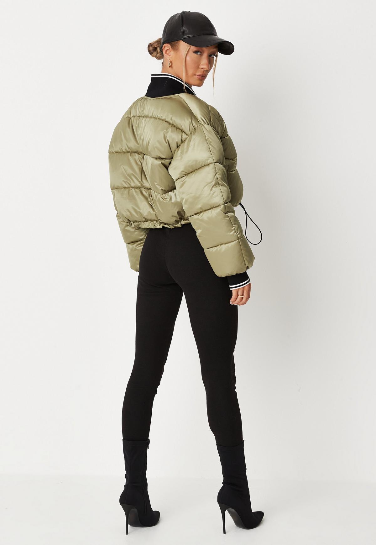 khaki drop shoulder padded puffer jacket $74.00