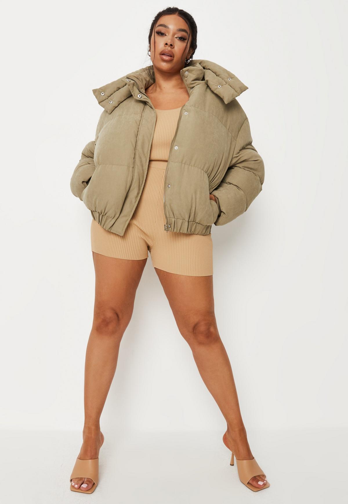 plus size khaki soft touch puffer jacket $74.00