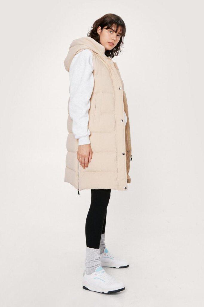Longline Hooded Padded Gilet $59.60