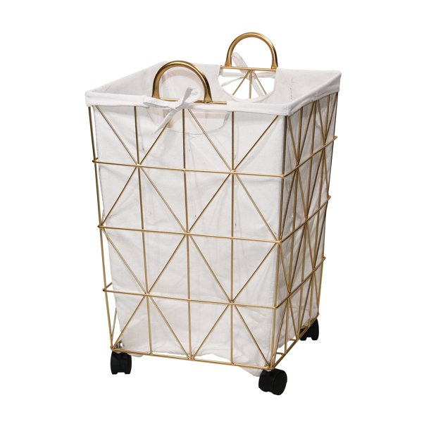 Symmetrical Pattern Metal Hamper with Wheels, Gold and Natural $19.88