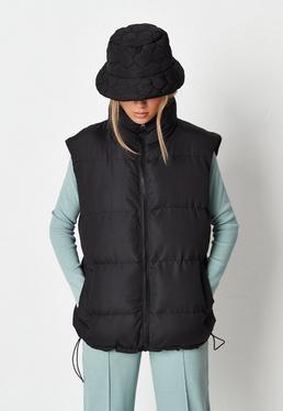 black padded boxy vest $62.00