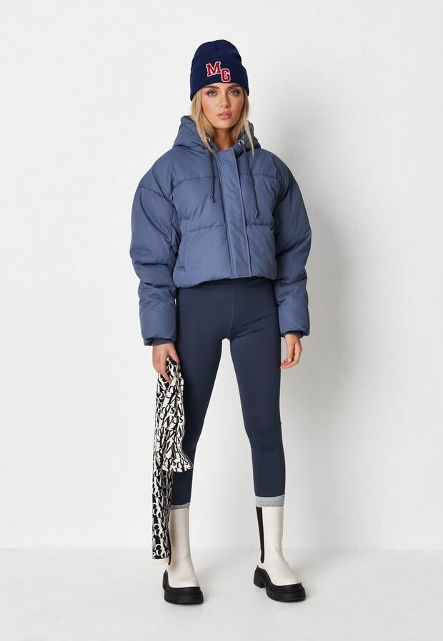 blue cropped hooded puffer jacket $74.00