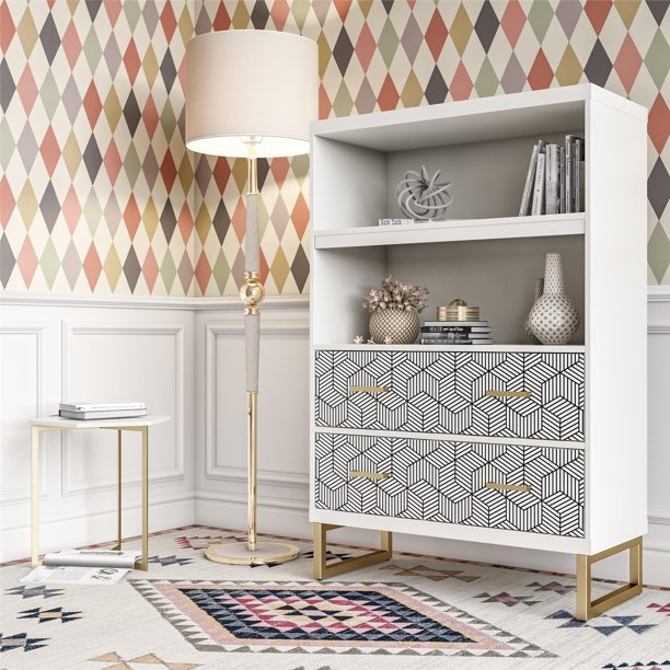 CosmoLiving by Cosmopolitan Scarlett Bookcase with Drawers, White $319.99