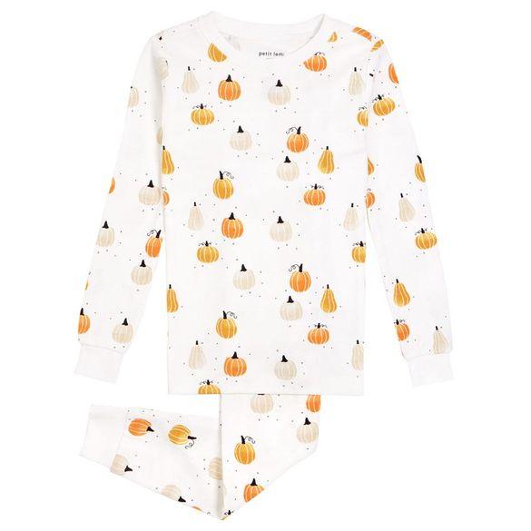 Pumpkin Two-Piece Fitted Cotton Pajamas PETIT LEM $32.00