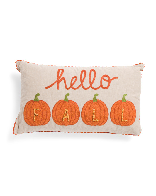 HANDCRAFTED IN INDIA 14x24 Hello Fall Pillow $24.99