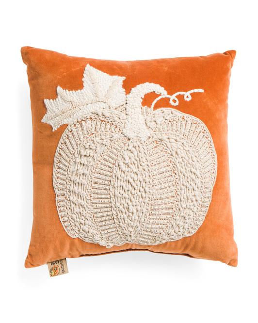DEVI DESIGNS 18x18 Orange Boho Textured Pumpkin Pillow $19.99