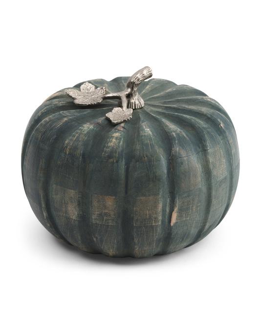 MARTHA STEWART 10in Wooden Pumpkin $24.99