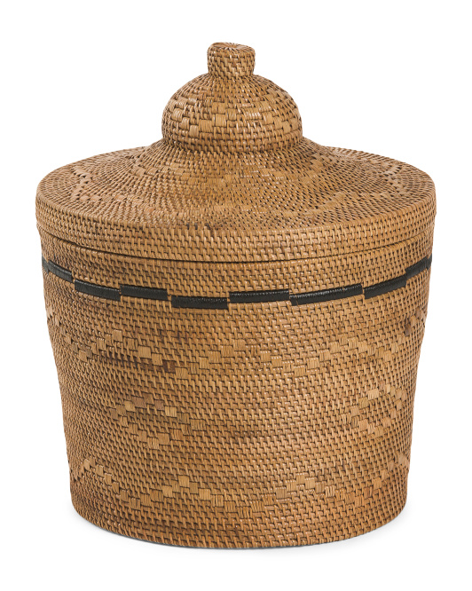 HANDCRAFTED IN INDONESIA Rattan Basket With Lid $59.99