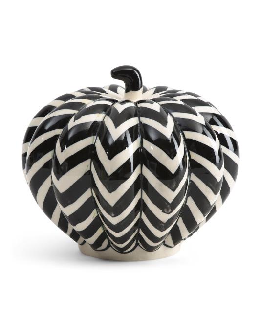 BELLA LUX 8in Ceramic Chevron Pumpkin $14.99
