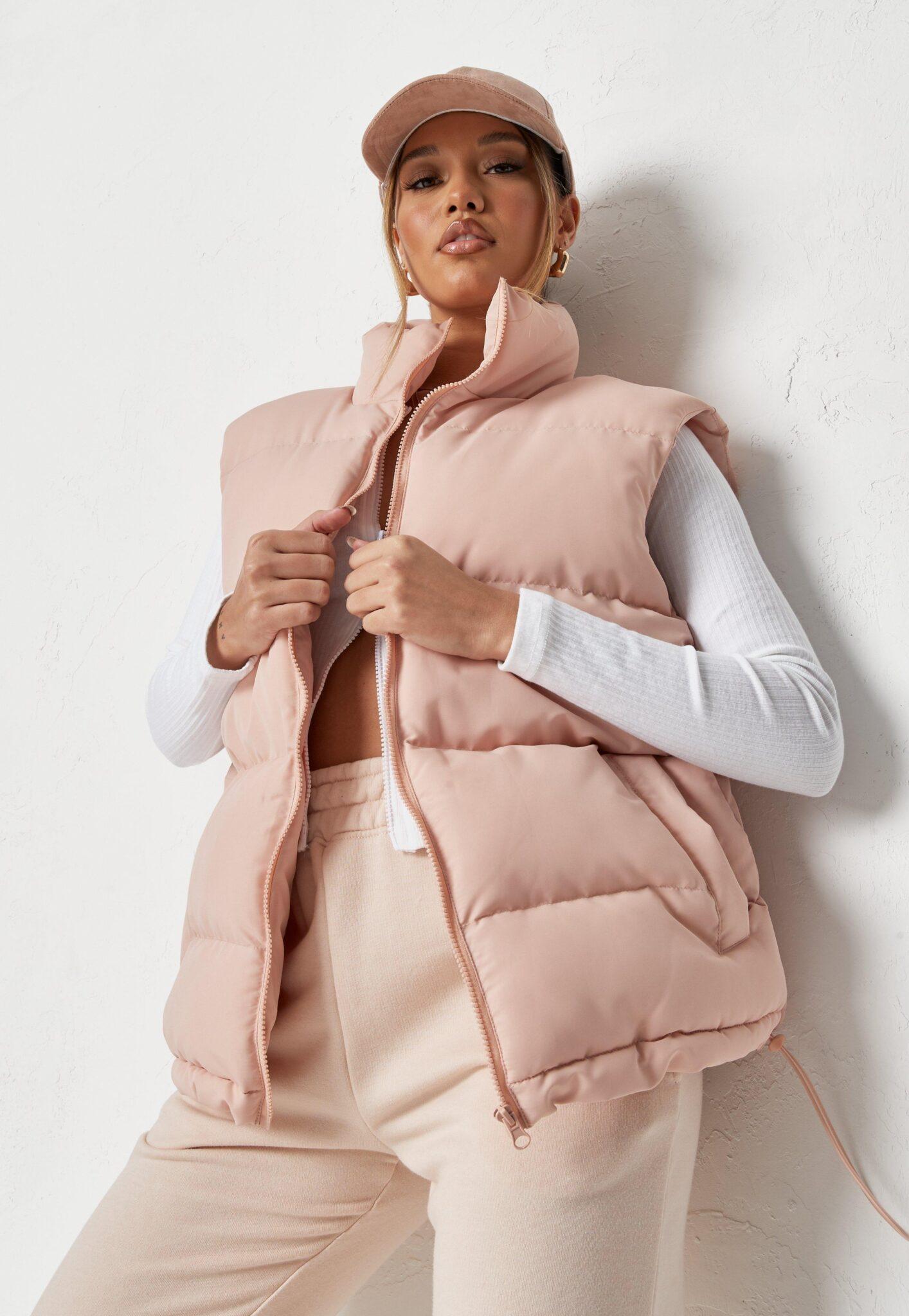 pink boxy padded vest $62.00