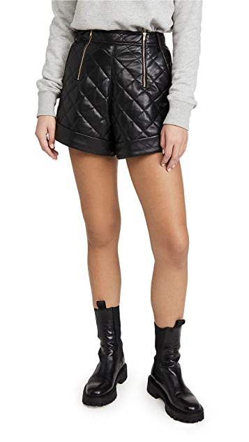 Self Portrait Faux Leather Quilted Shorts $219.00