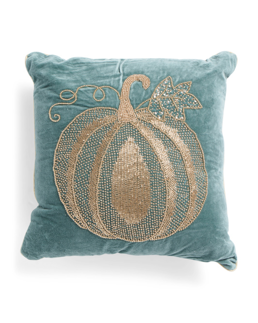HANDCRAFTED IN INDIA 18x18 Pumpkin Velvet Pillow $24.99