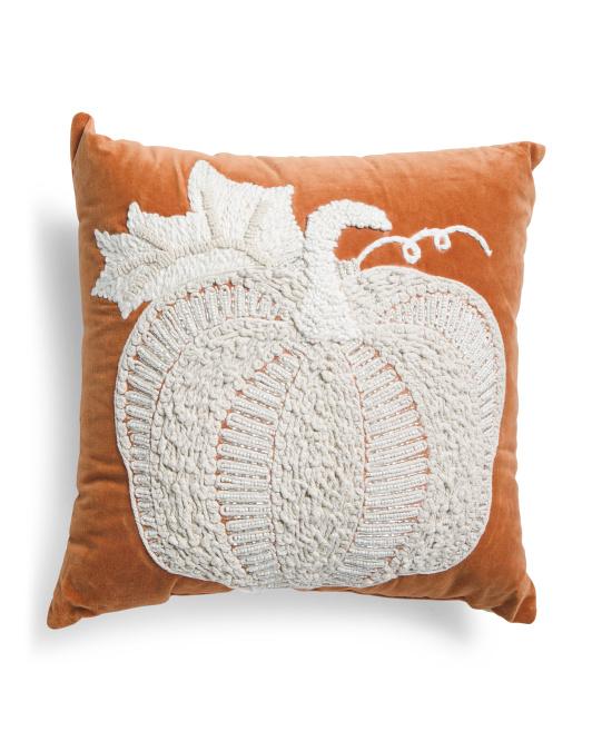 DEVI DESIGNS 18x18 Boho Textured Pumpkin Pillow $19.99