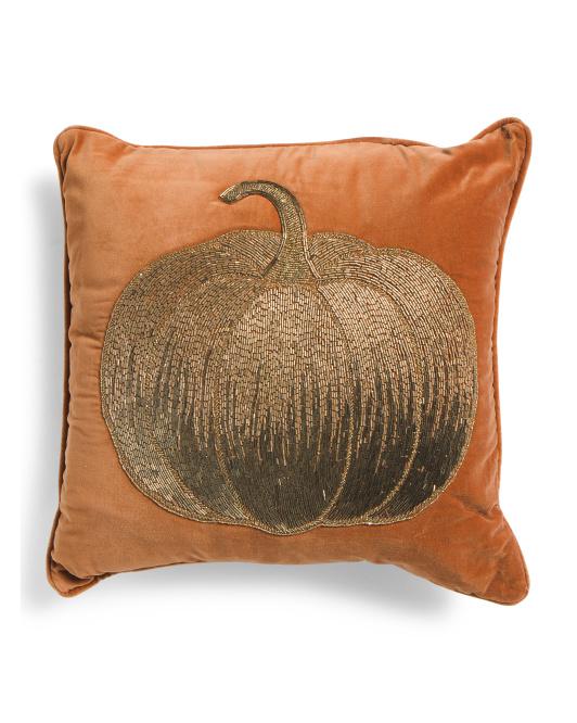 HANDCRAFTED IN INDIA 20x20 Beaded Pumpkin Velvet Pillow $24.99