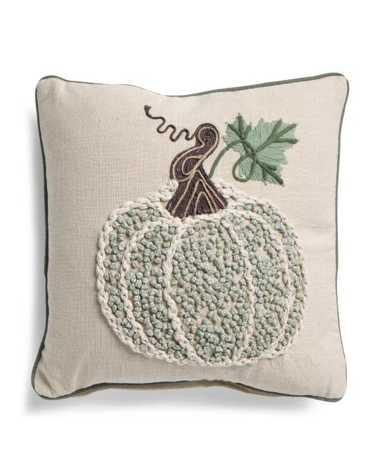 DEVI DESIGNS 18x18 French Knot Pumpkin Pillow $19.99