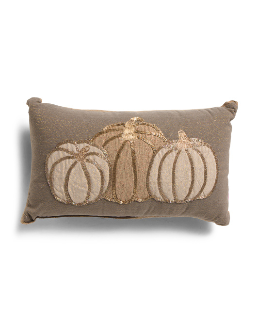HANDCRAFTED IN INDIA 12x20 Natural And Gold Pumpkins Pillow $19.99