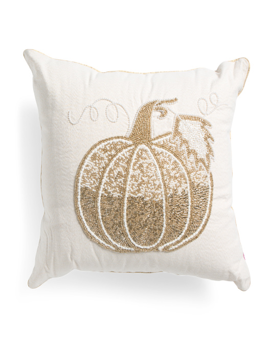 HANDCRAFTED IN INDIA 20x20 Gold Pumpkin Pillow $24.99