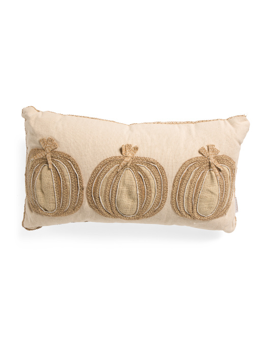HANDCRAFTED IN INDIA 14x26 Natural Pumpkins On Pillow $19.99 https://fave.co/3hy3Mzn
