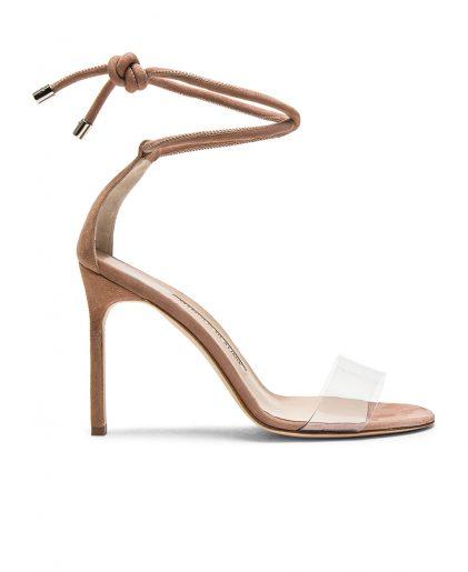 MANOLO BLAHNIK  105 Suede Estro Sandals $745